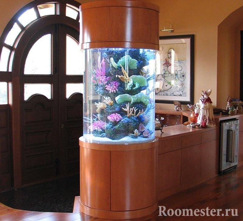 Колонна с аквариумом