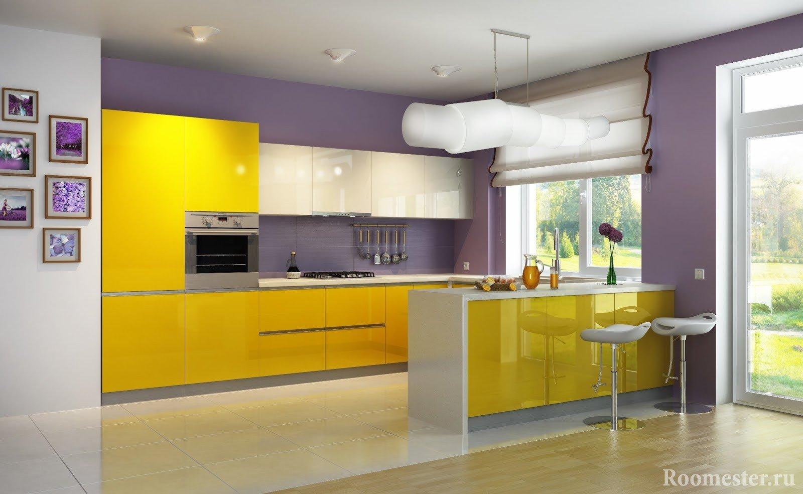 Желто-фиолетовая кухня