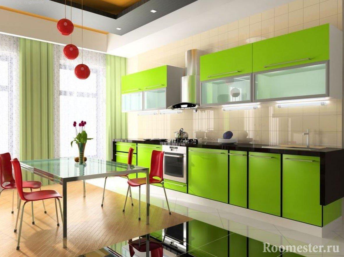 Большая кухня зеленого цвета