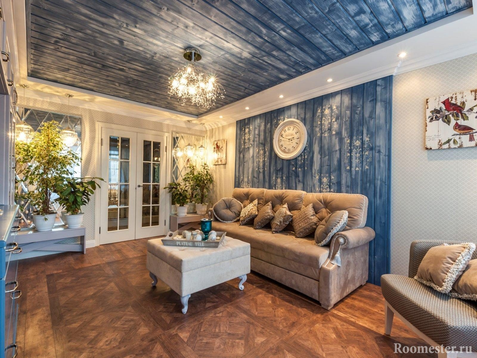 Wall and ceiling decoration in the living room clapboard