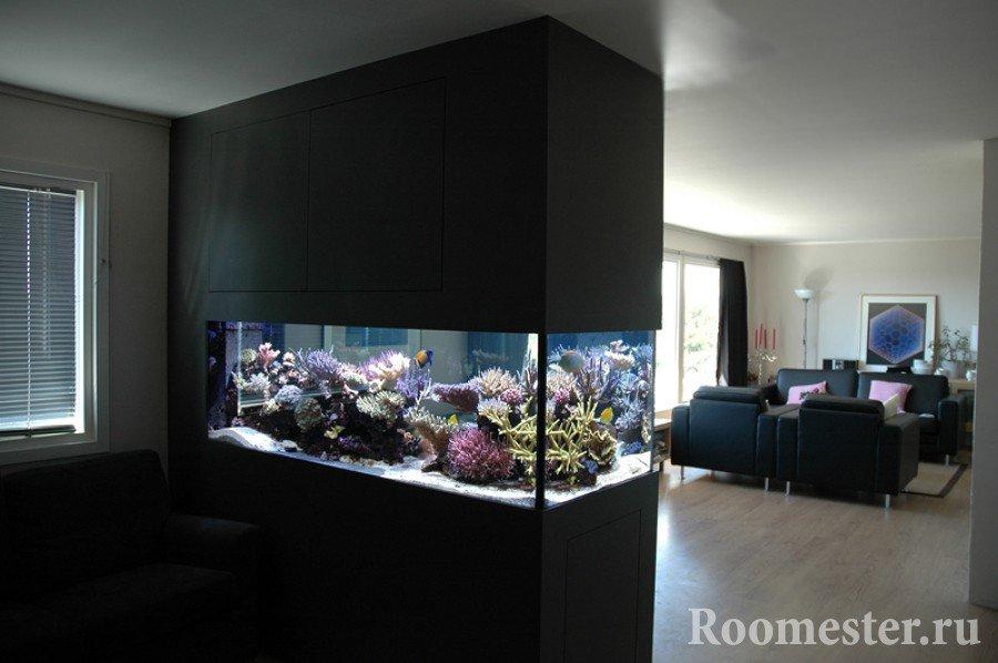Aquarium in the living room interior