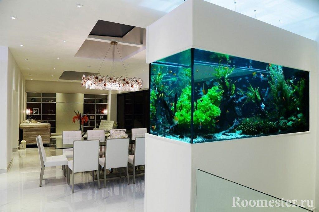 The interior of the dining room with aquarium
