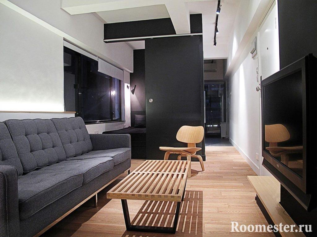 Спальное место отделенное от комнаты