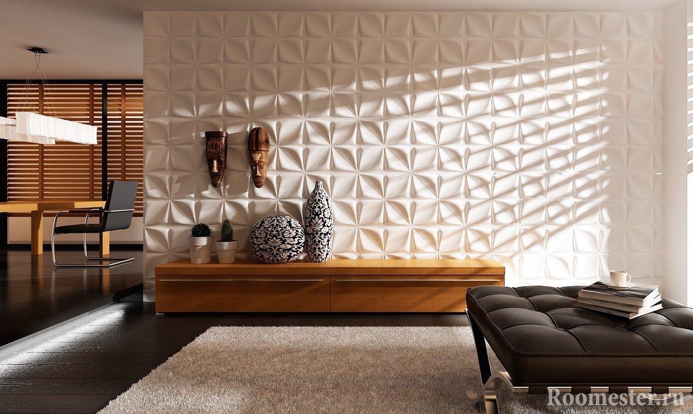 Отделка стены гостиной 3д панелями