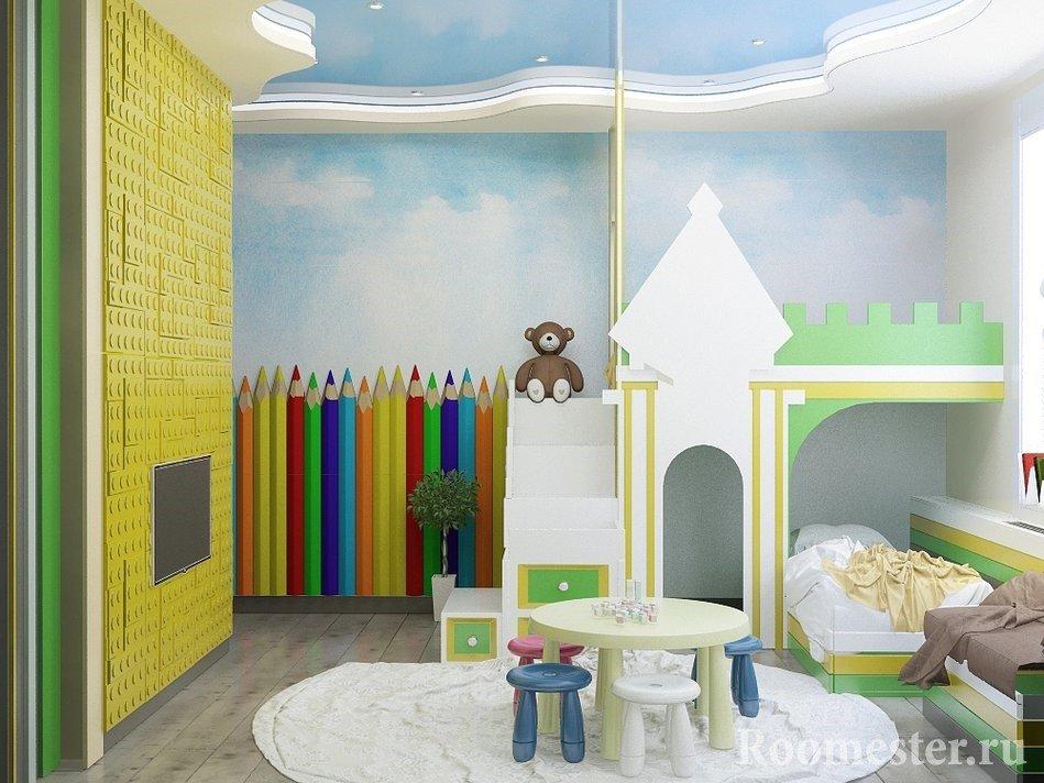 3d панели в детской в виде лего