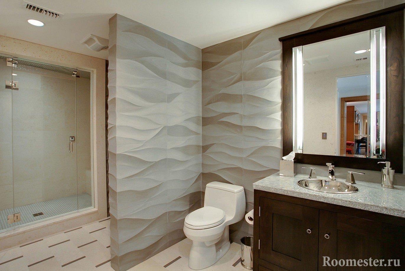 3д панели в интерьере ванной