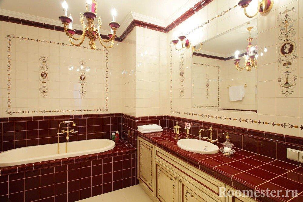 Ванная комната в плитке бордового цвета