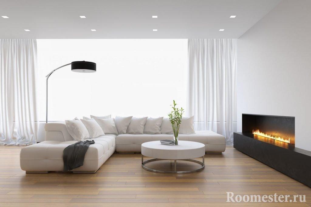 Самое простое решение отделки потолка в гостиной комнате