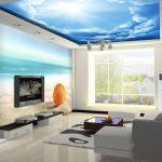 Яркие фотообои для гостиной в пляжном стиле