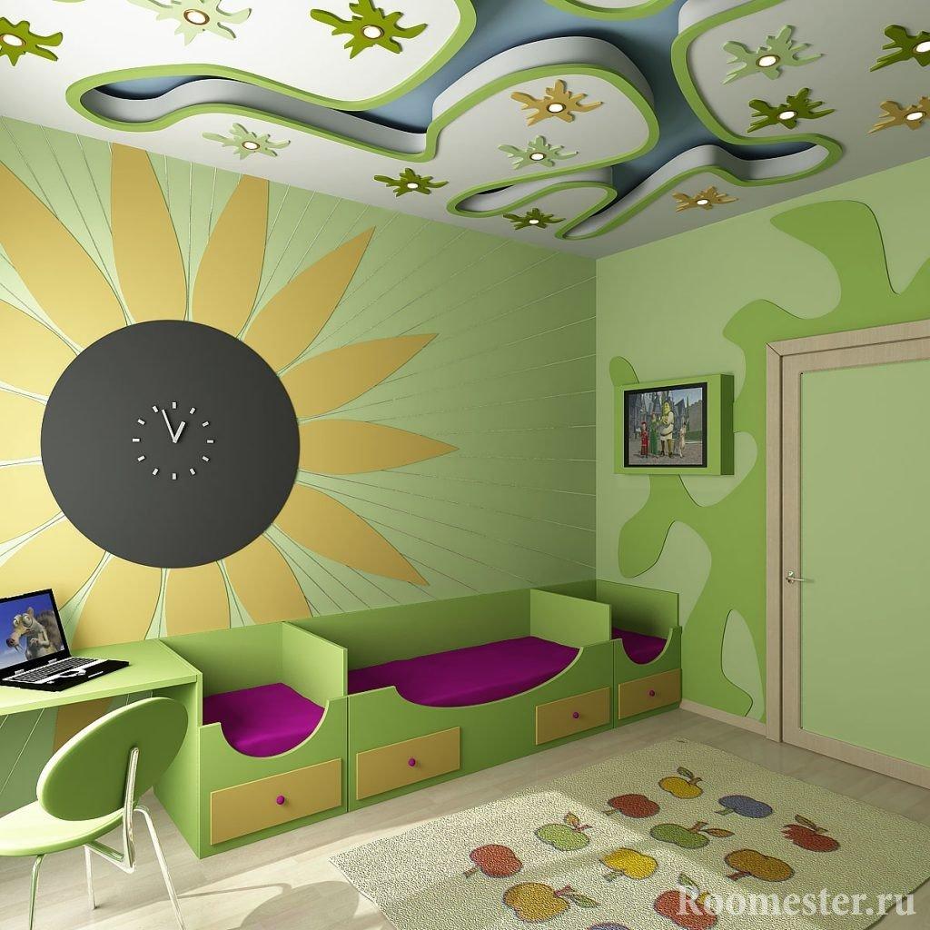 Аппликация на потолке детской комнаты