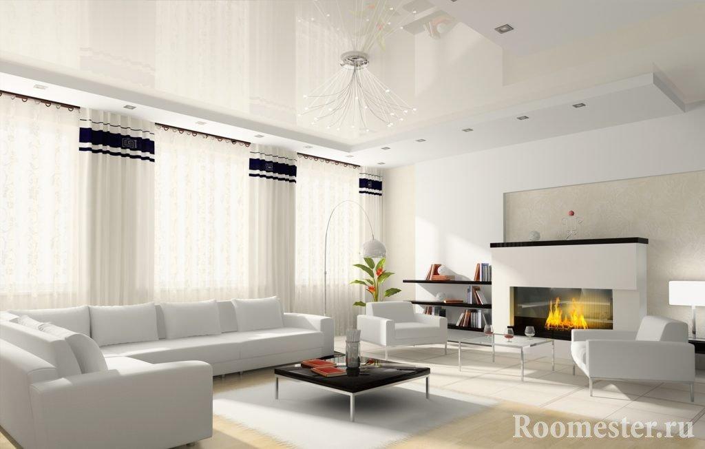 Натяжной потолок в светлой гостиной
