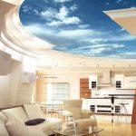 Фотообои с перспективой для потолка в гостиной