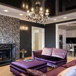 Декорирование потолка в черно-белом стиле