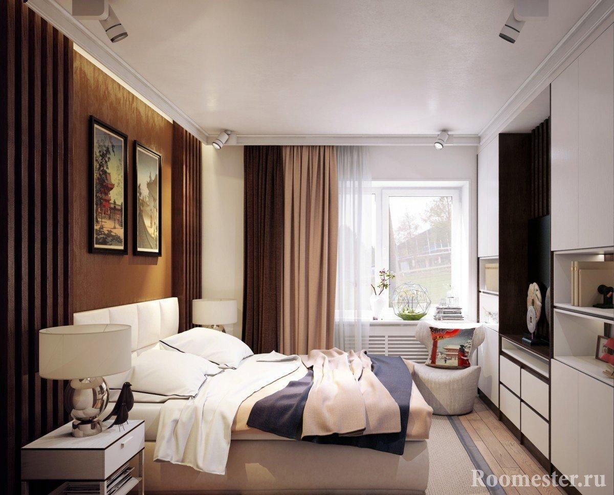 Спальня в коричнево-бежевых тонах