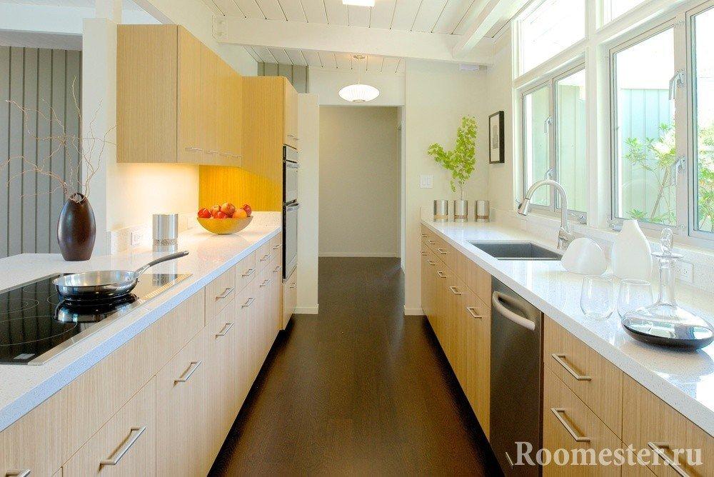 Кухня по двум стенам