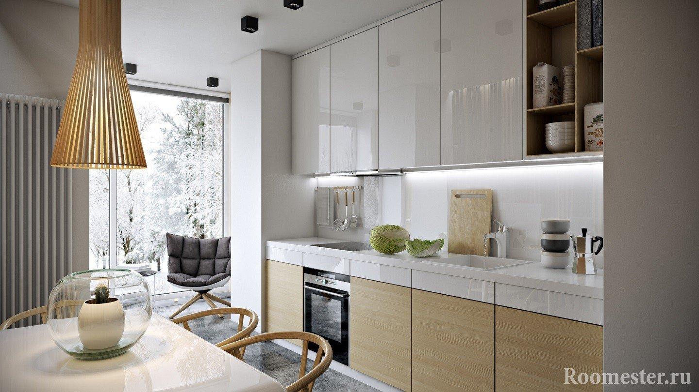 Линейная кухня с панорамным окном