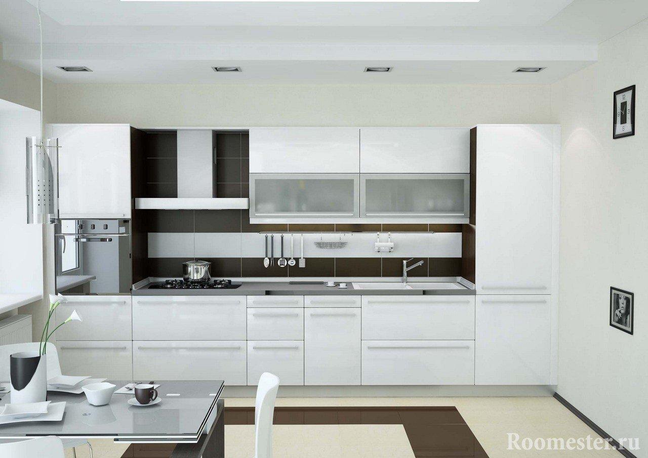 Белая кухня на 15 кв м