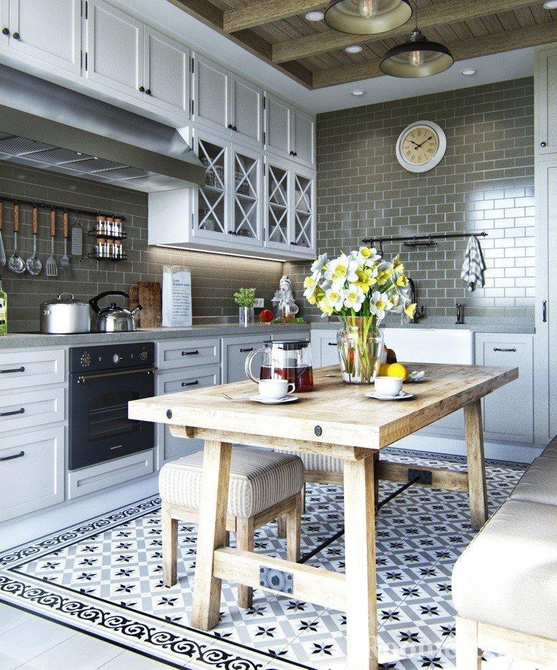 Угловая кухня с одной стеной без верхних шкафчиков