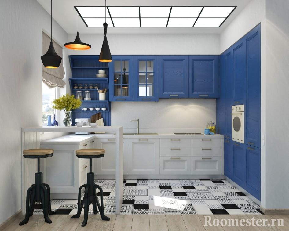 Бело-голубая кухня