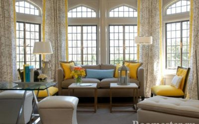 Дизайн штор для зала — идеи и примеры
