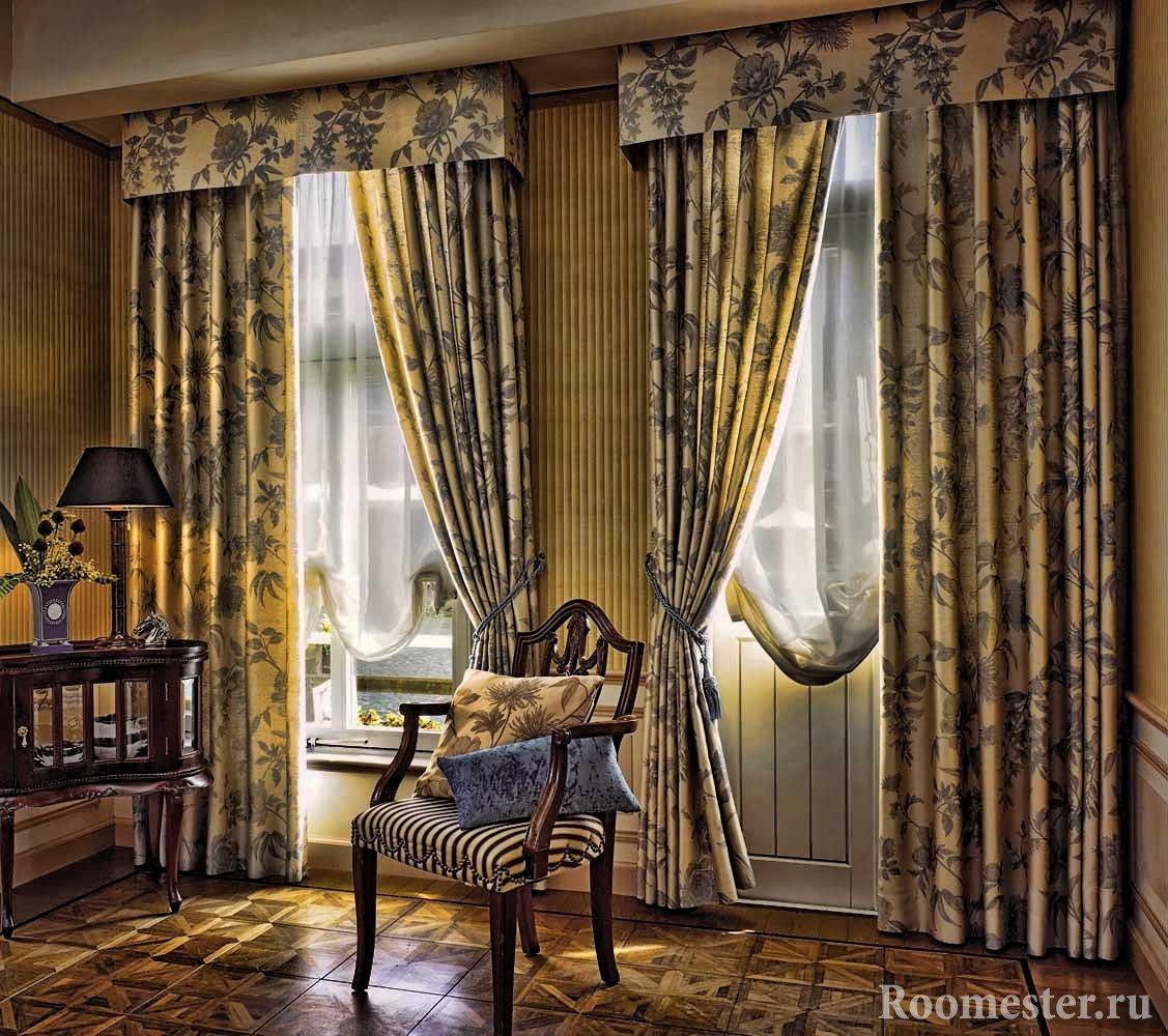 Отделка карниза тканью шторы