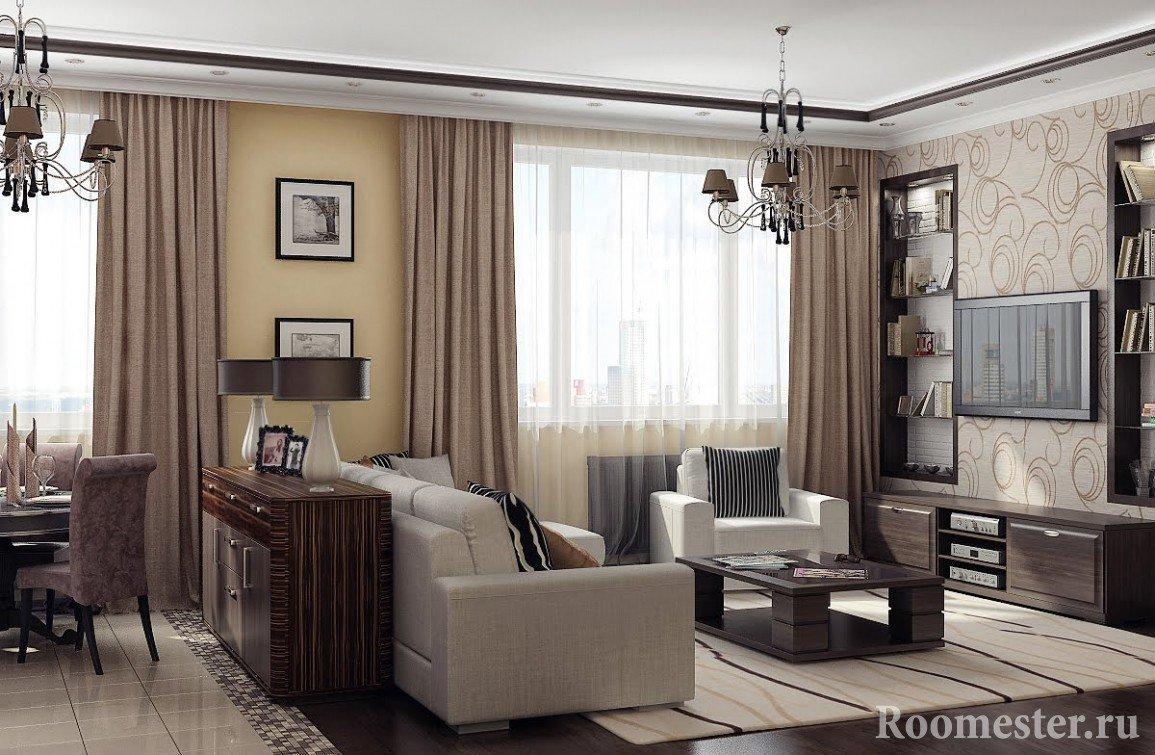 Разделение помещений с помощью мебели
