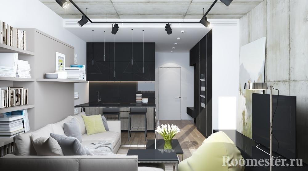 Кухня в углу гостиной комнаты