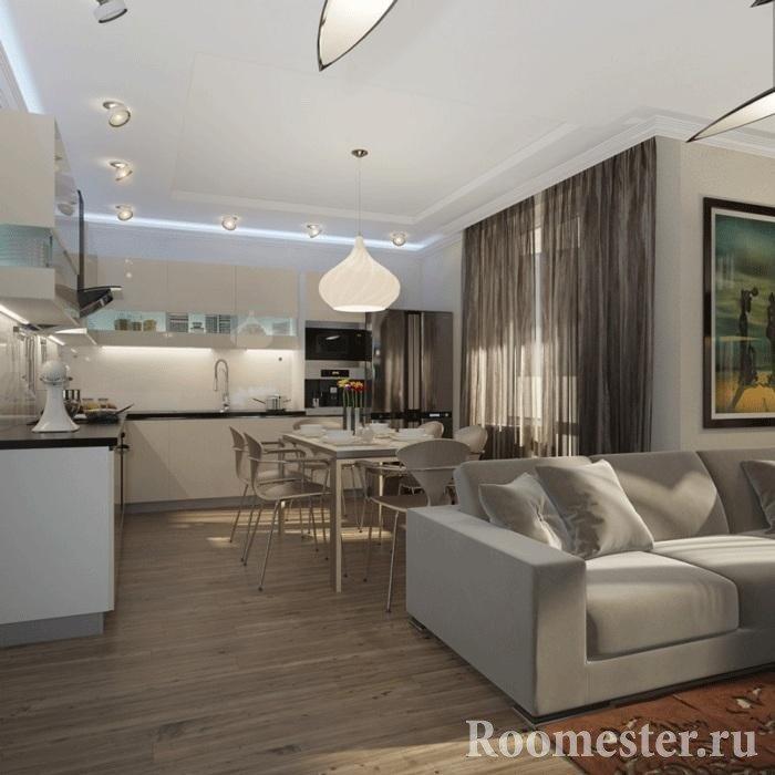 Угловая кухня в одной комнате с гостиной