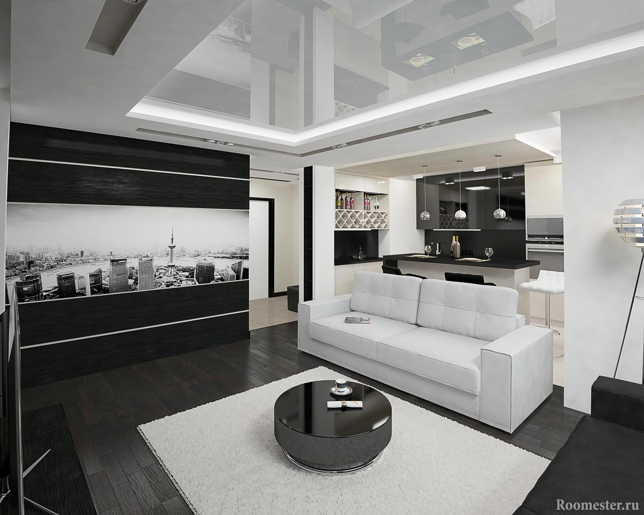Черно-белый интерьер кухни и гостиной на 20 квадратных метрах