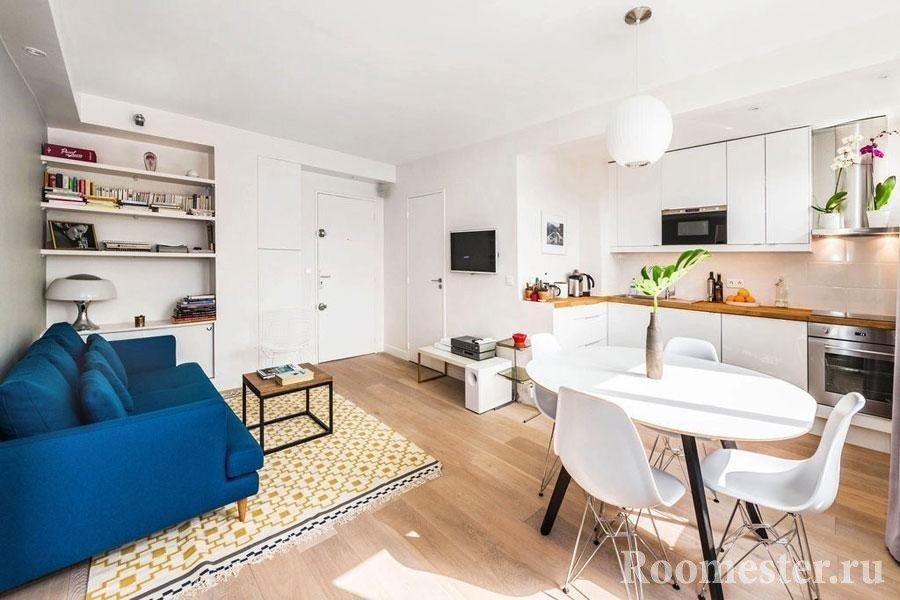 Дизайн кухни с гостиной в одном помещении