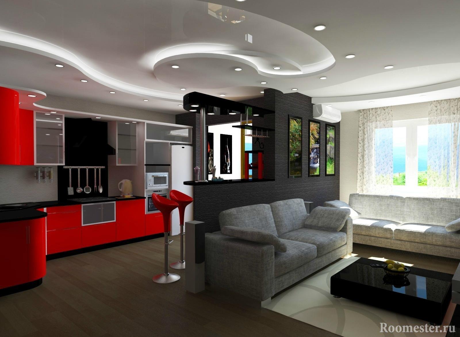 Дизайн-проект кухни и гостиной 20 кв.м.