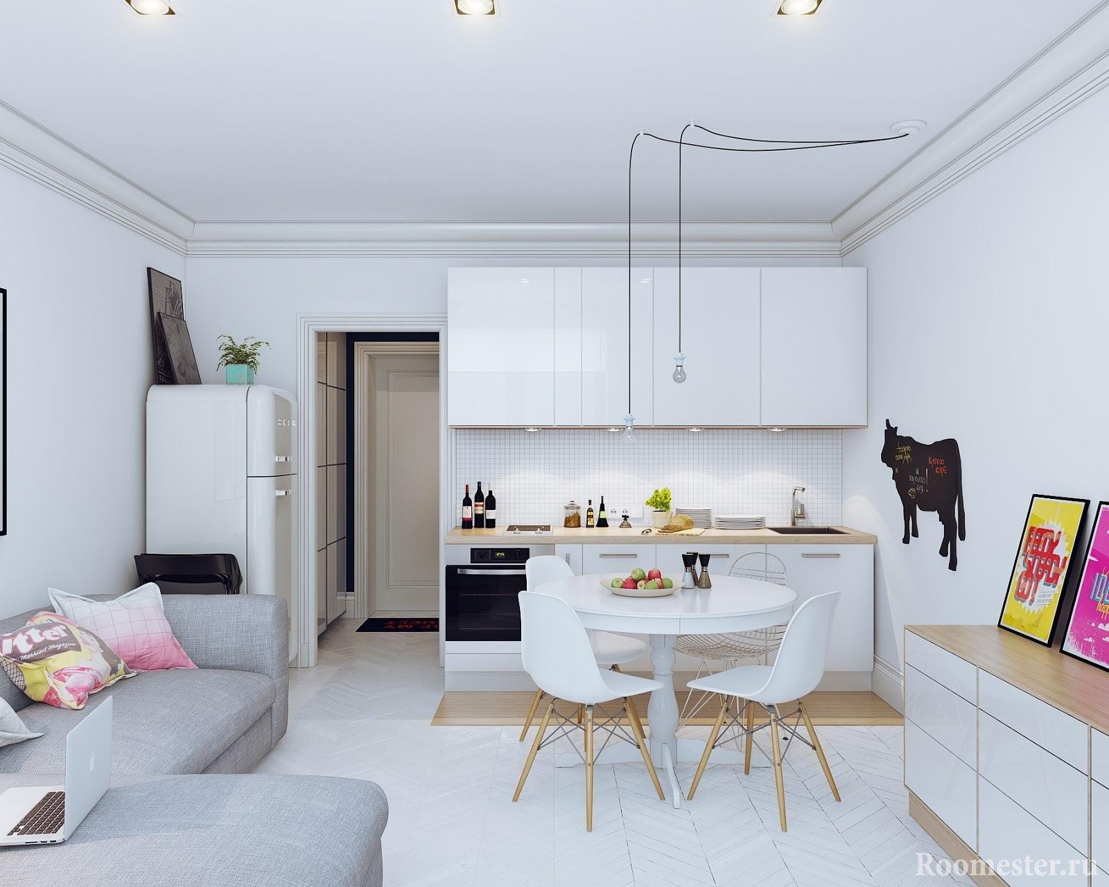 Современная гостиная с кухней в светлом исполнении
