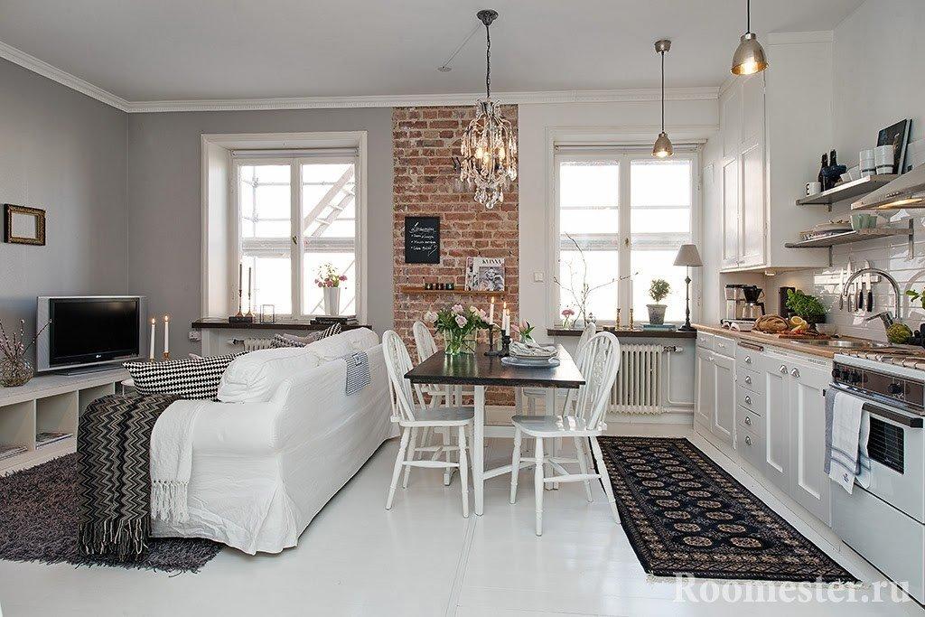 Кухня-гостиная со столовой