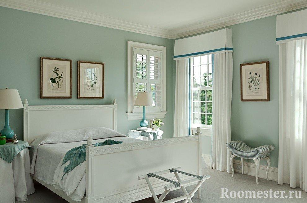 Нежность и свежесть при оформлении спальни