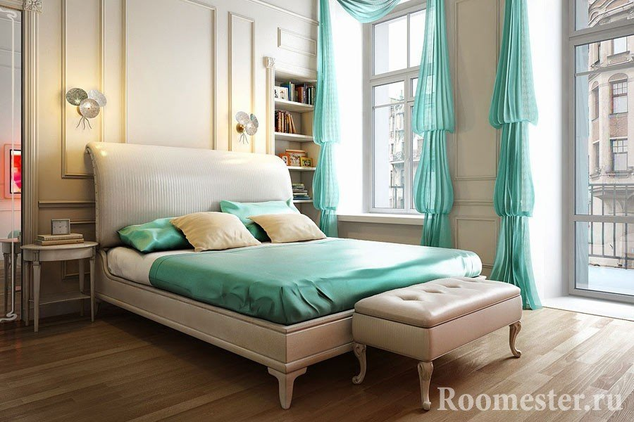 Использование мятного цвета в современном интерьере спальни