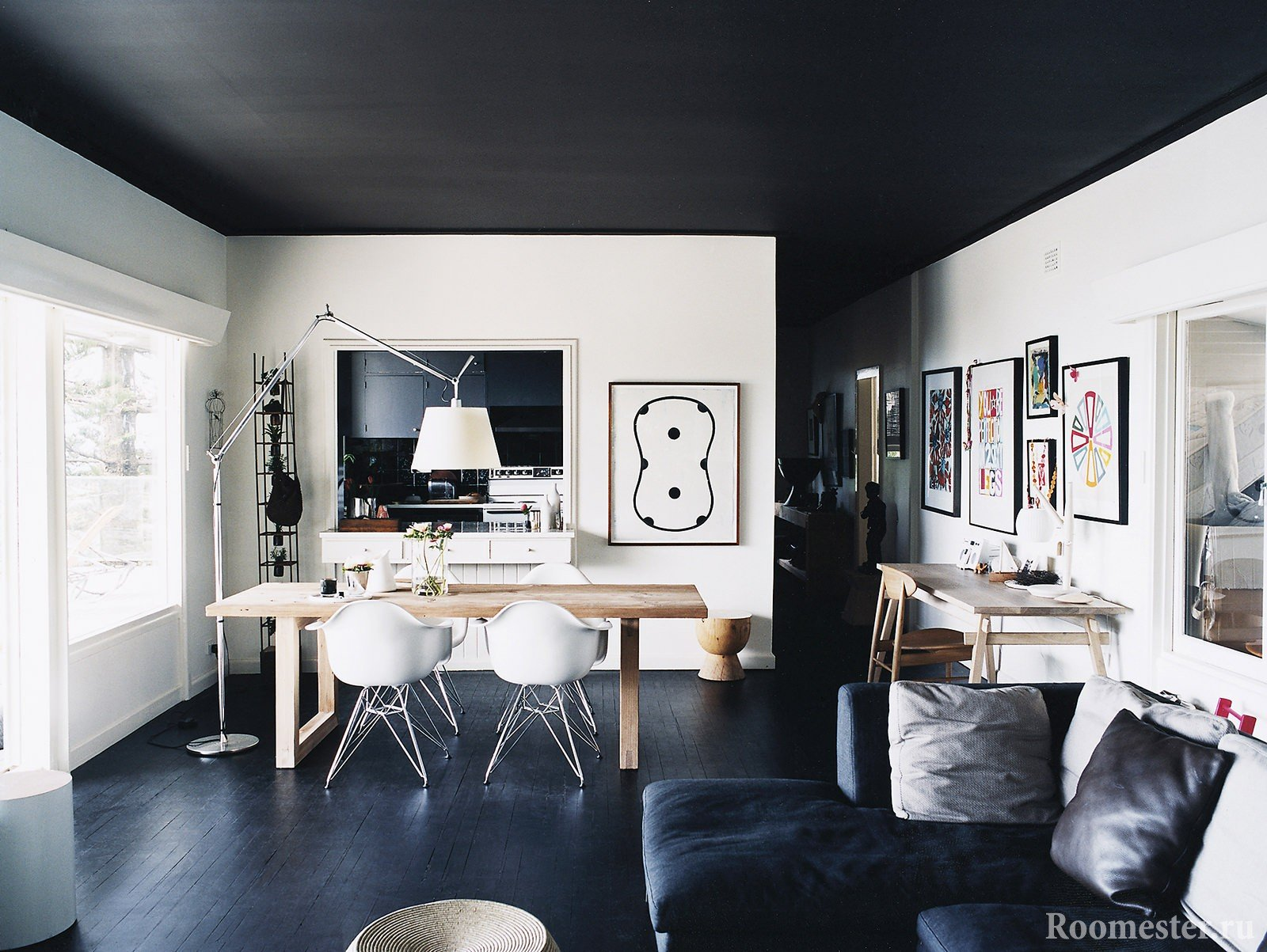 Black floor and ceiling