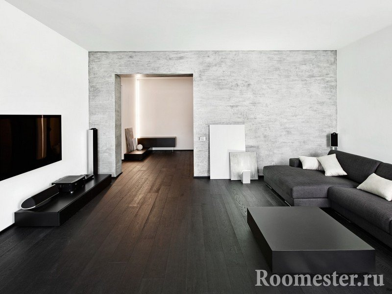 White walls and dark floor