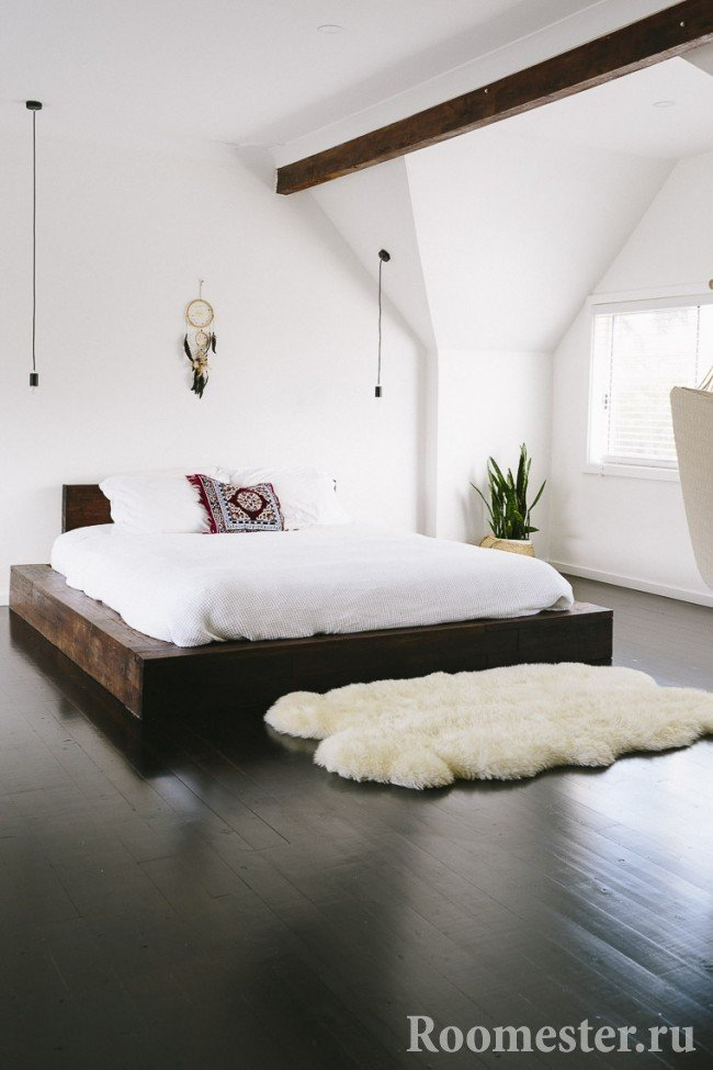 Bedroom design with dark floor