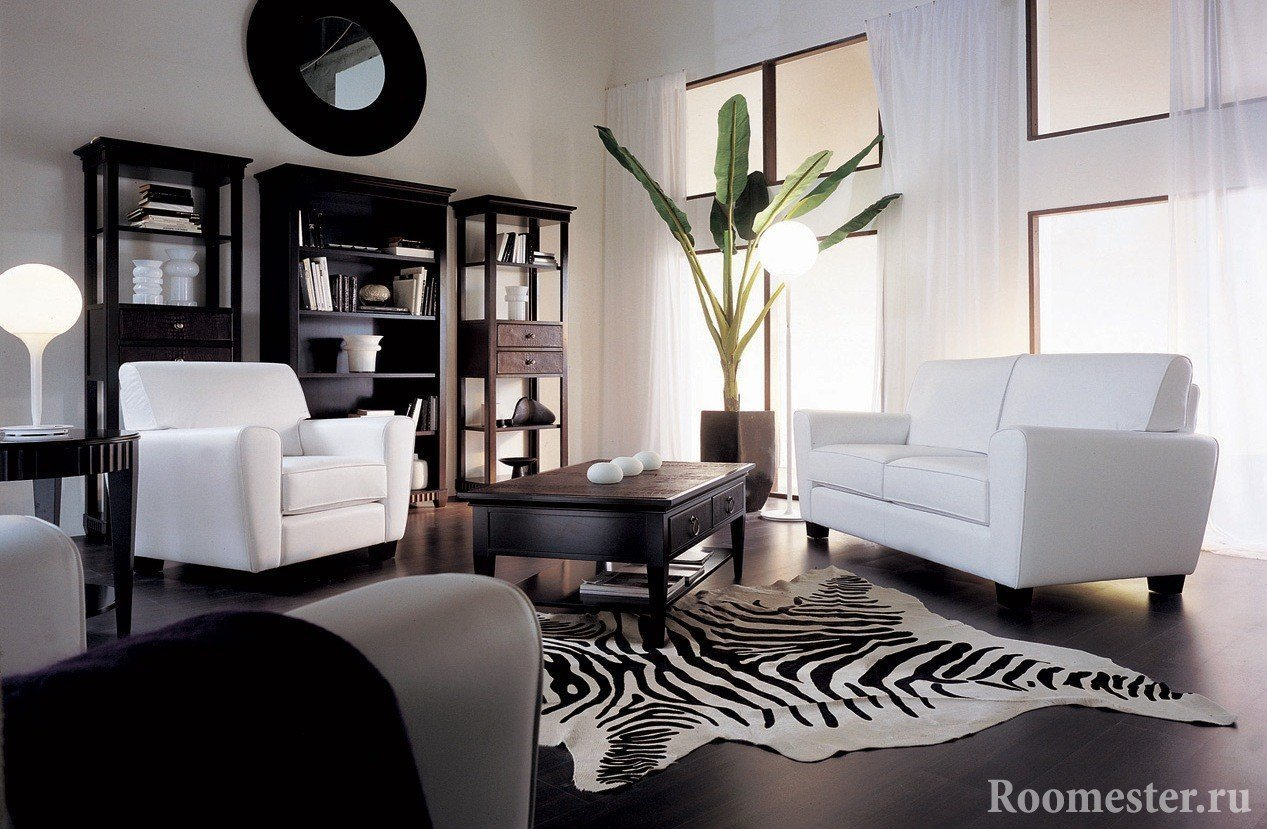 Dark laminate flooring in the living room.