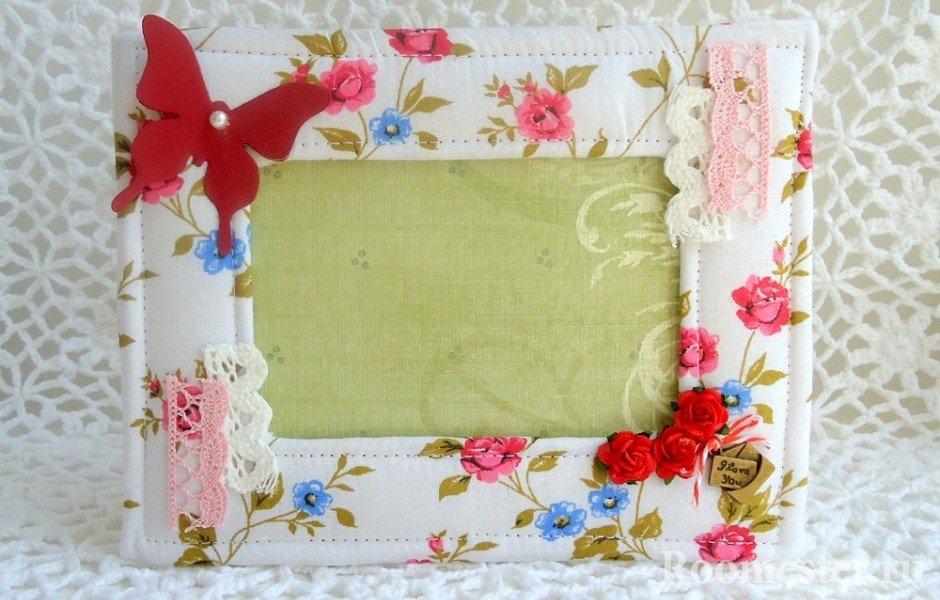 Декор рамки с помощью ткани