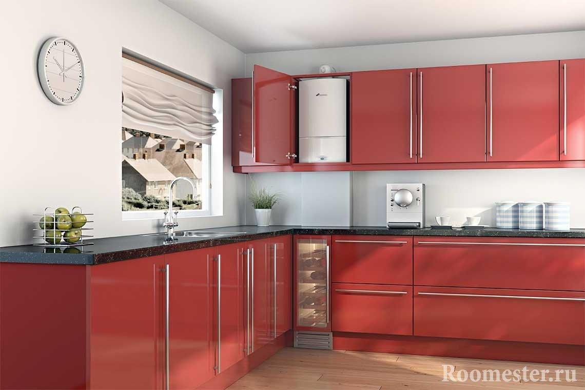 Кухонный гарнитур с местом в шкафу для газовой колонки