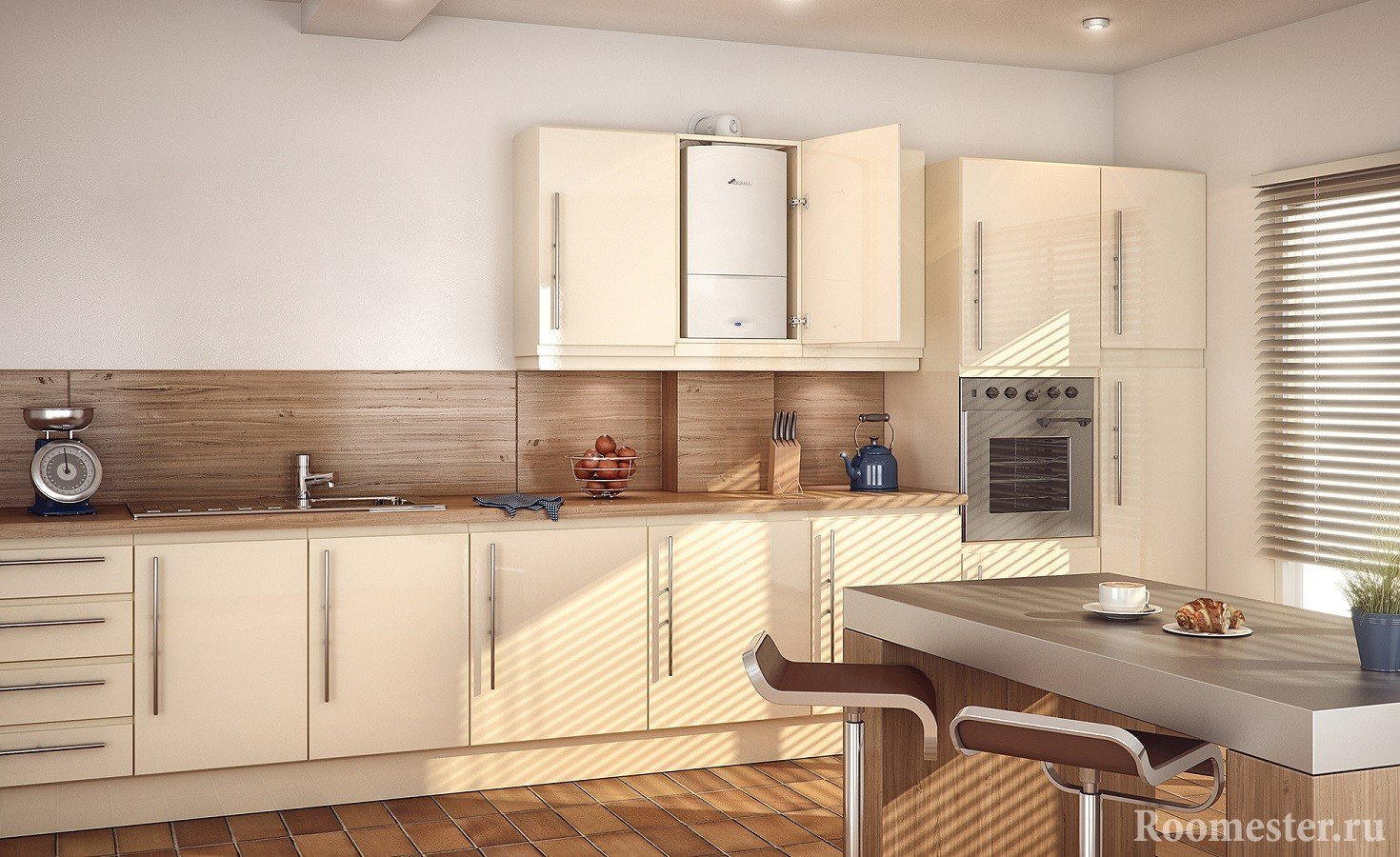 Кухня с газовой колонкой в шкафу и трубы в коробе