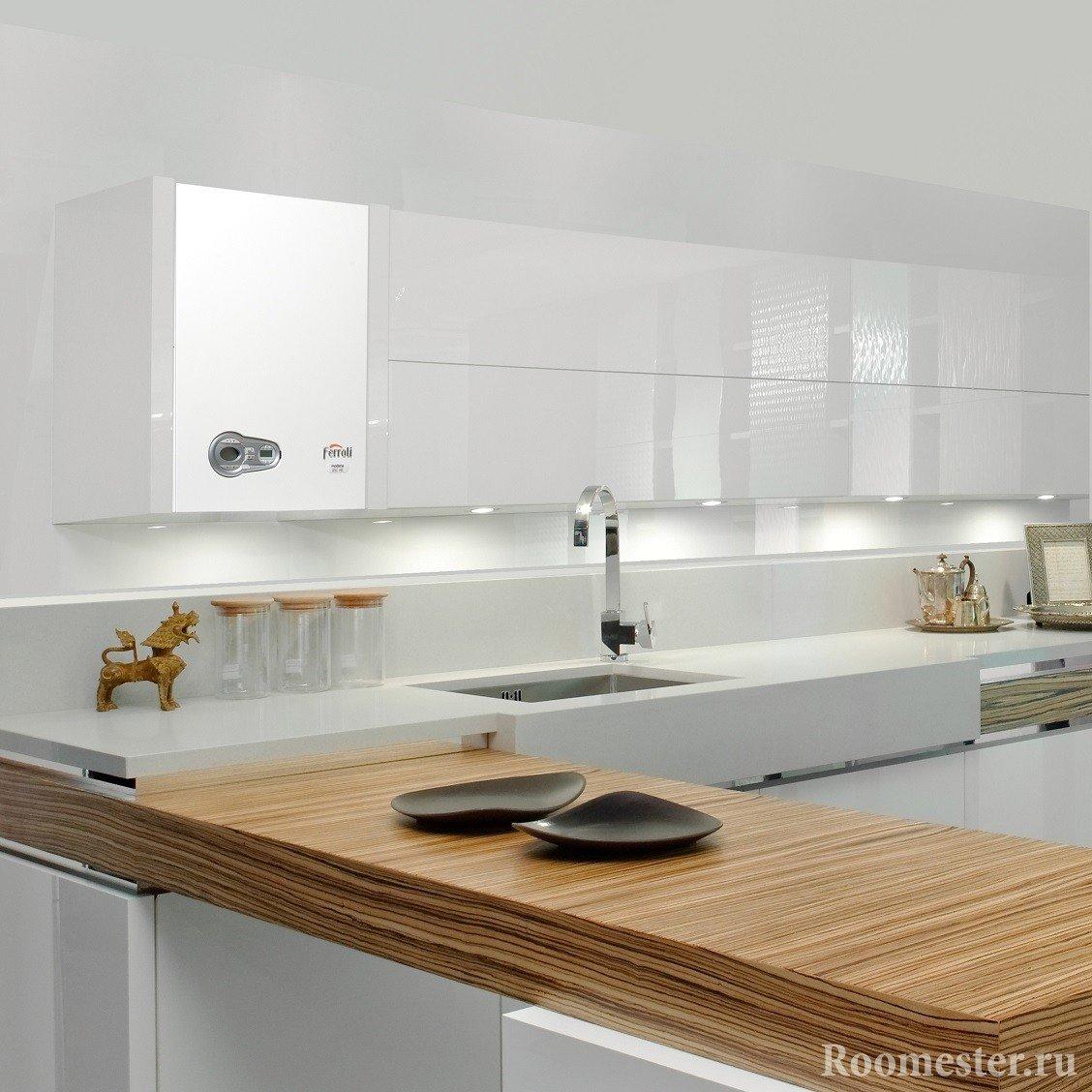 Стильная кухня с газовой колонкой