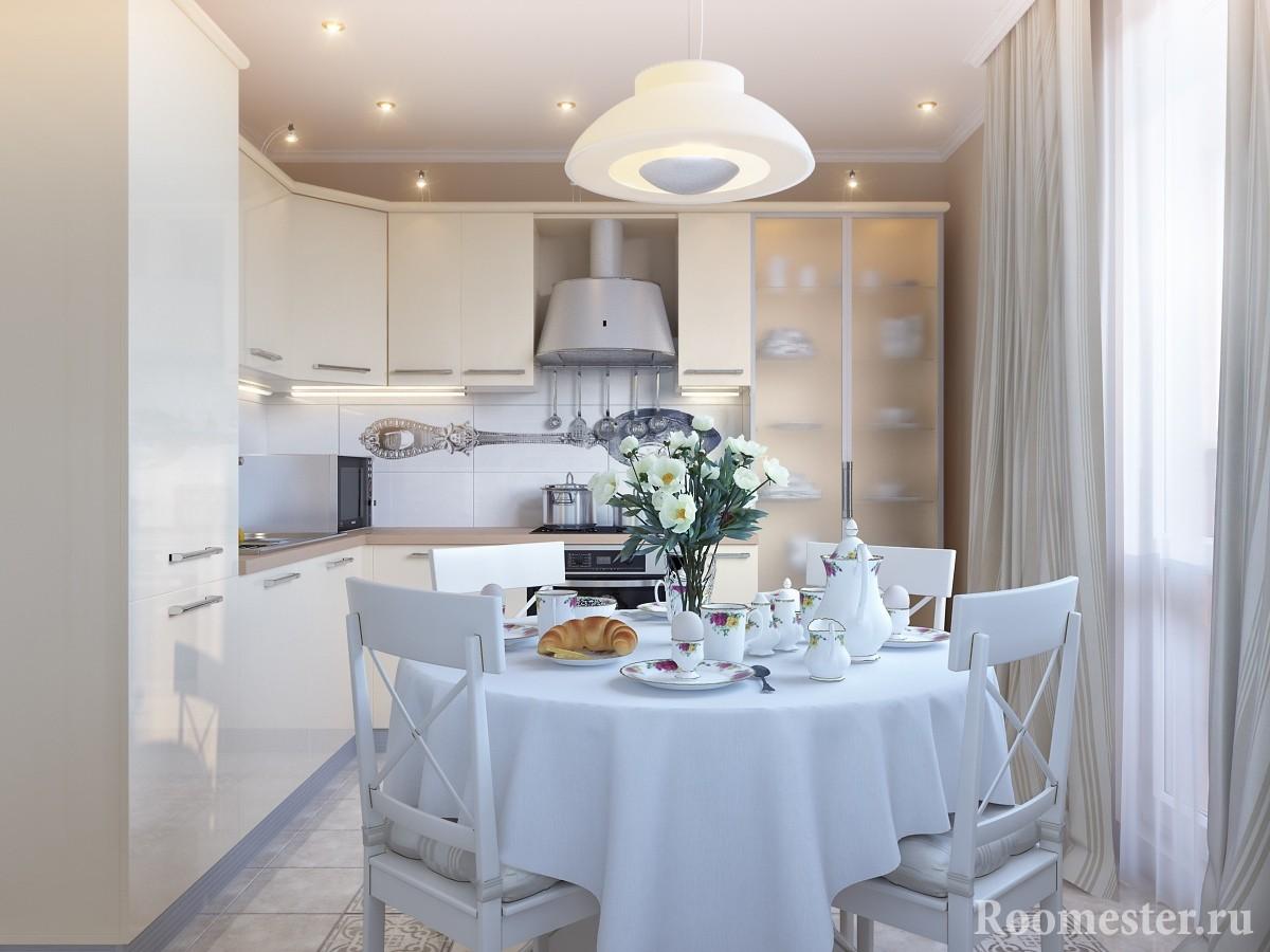 Совмещенная кухня со столовой