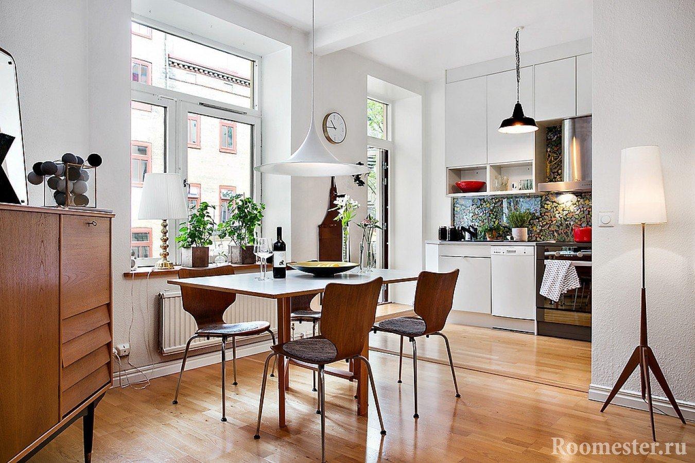 Скандинавский стиль в интерьере кухни-столовой