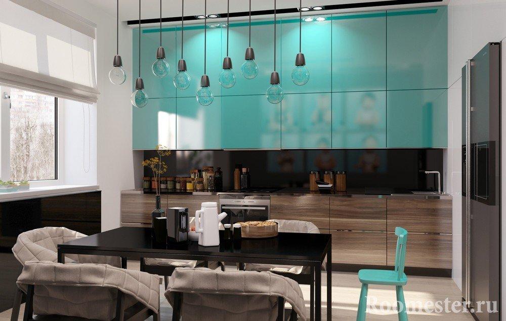 Бирюзовый цвет в кухне в сочетании с черным в столовой