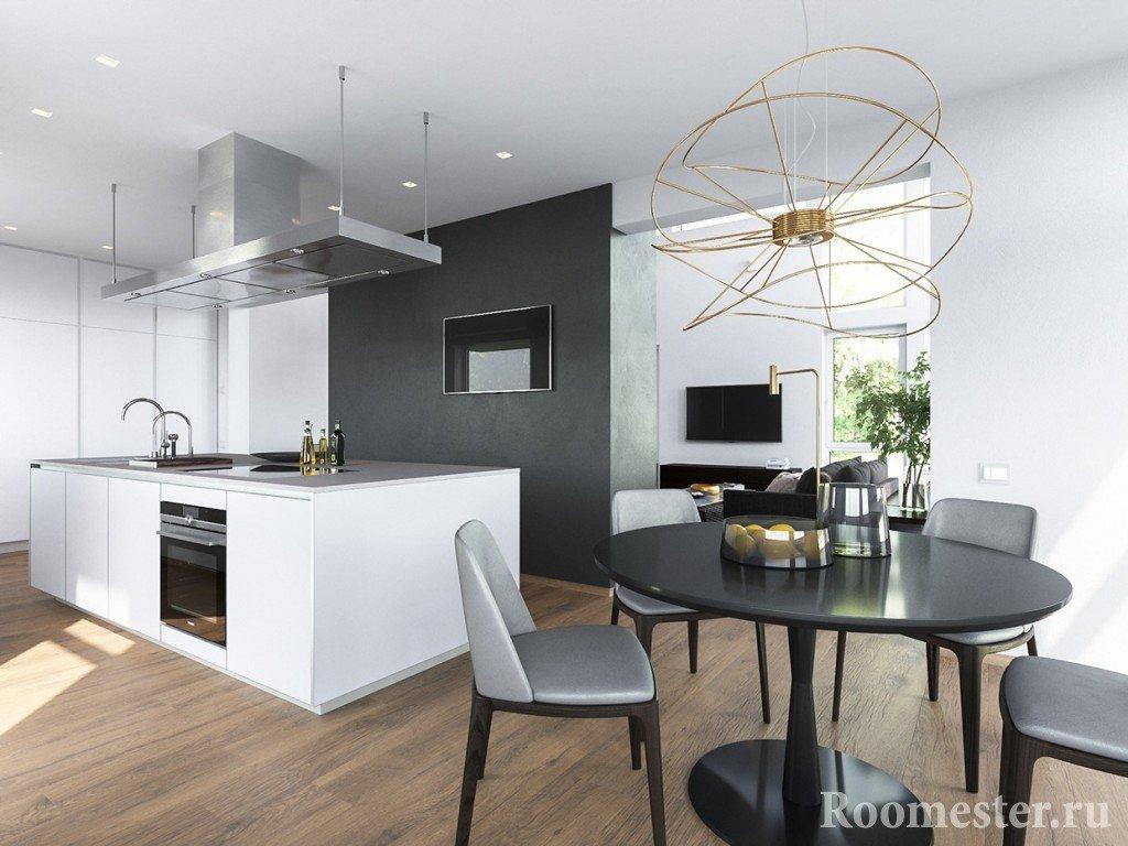 Черно-белая кухня и столовая