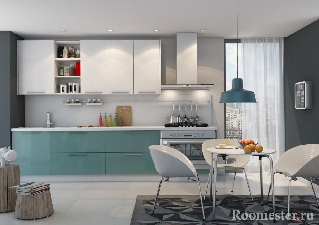 Классическое размещение обеденного стола в кухне