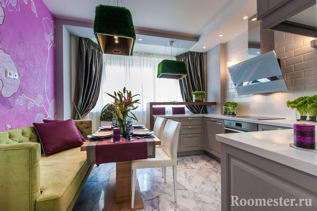 Размещение дивана за кухонным столом
