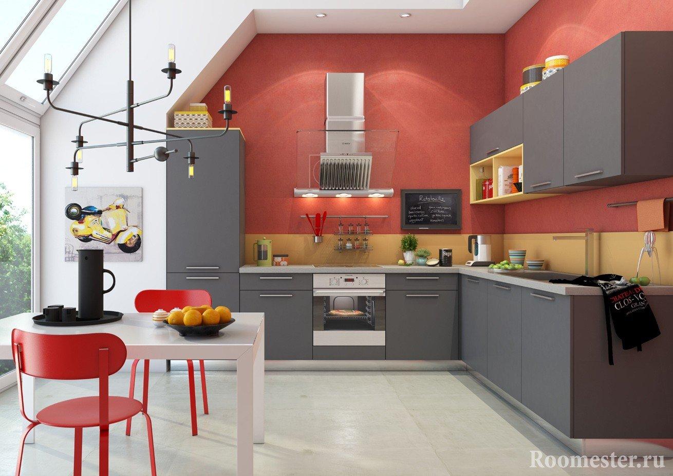 Дизайн кухни-столовой в частном доме с панорамным остеклением